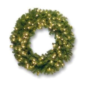 Norwood Fir Wreath with Concave White Lights   3 Foot