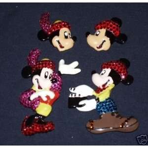 Disney Wendy Gell Mickey & Minnie Mouse Crystal Pin