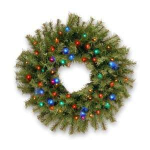 Norwood Fir Wreath with Concave Multicolor Lights   2 Foot