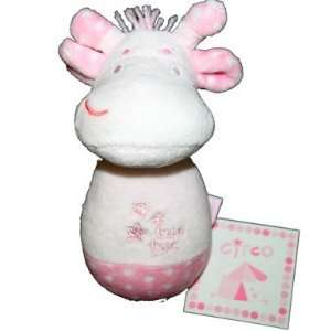 Tuc Tuc White Giraffe. Soft Plush Infant Baby Rattle and Teething Toy