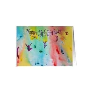 Happy 18th Birthday   Dancing Figures   Watercolor Card