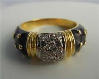 18K Black Enamel Hidalgo Ring with Diamonds