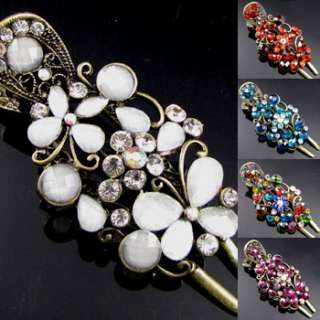 , 1 antiqued rhinestone crystal butterfly hair clamp cli