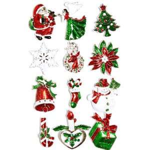 Dozen Set Red and Green Santa Claus Christmas Tree Snowflake Candy