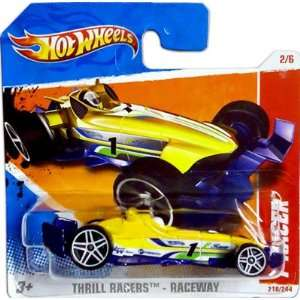 2011 Hot Wheels Yellow F RACER #218/244, Thrill Racers Raceway #2/6