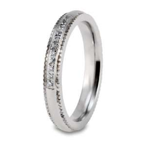 Polished Milgrained CZ Stainless Steel Ring (4mm)   Size 6