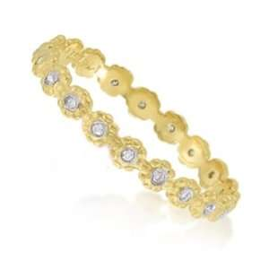 Meira T 14K Yellow Gold Diamond Flower Eternity Ring Stackable Band