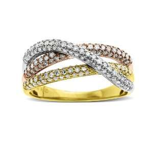 14k Yellow Gold Intertwined Diamond Ring, Size 6 Jewelry