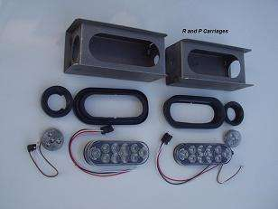 CLEAR RED LED 6 oval Light Mount Box Kit Trailer NO LIC