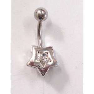Crystal Gem Silver Star Belly Ring