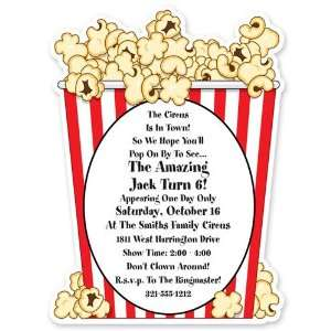 Childrens Birthday Party Invitations   Popcorn Invitation