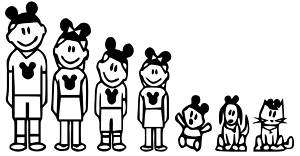 Mickey Mouse Family Stick Figure Car Decal/Sticker