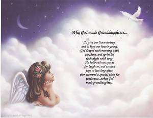 GOD MADE GRANDDAUGHTER Poem Angel Print Personalized