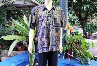 BEAUTIFUL MENS THAI SILK SHIRT SHORT SLEEVE (XXL)