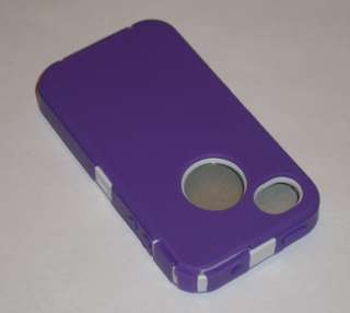 iPhone 4 4G 4S PURPLE / WHITE HYBRID HARD SOFT COVER CASE BEST