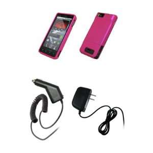 Droid X MB810   Hot Pink Rubberized Snap On Cover Hard Case Cell Phone