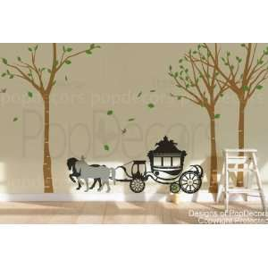 Authentic Only from PopDecors Big birch trees and horse wagon (102 H