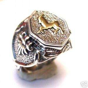 Mens Sterling Silver Signet Ring Gold 9K Capricorn