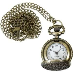 Filigree Pocket Watch with Necklace Chain Arts, Crafts