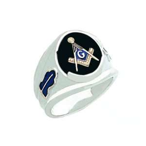 Mens Sterling Silver Masonic Freemason Mason Ring Onyx Stone (Size 10