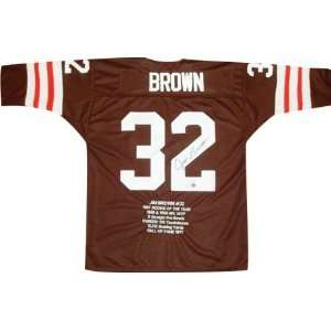 Jim Brown Autographed Embroidered Custom Stat Jersey