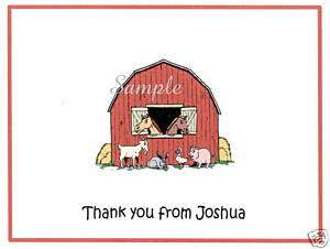 12 Personalized Thank You/Note Cards/Barn/Animals/Red