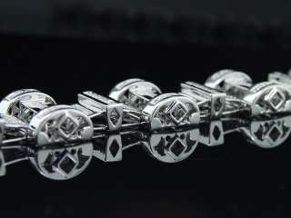 MENS WHITE GOLD FINISH 1.30 CT DIAMOND LINK BRACELET
