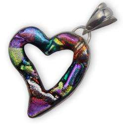 Sterling Silver and Dichroic Glass Cut out Heart Pendant (Mexico
