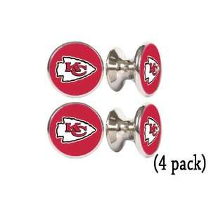 Kansas City Chiefs NFL Stainless Steel Cabinet Knobs / Drawer Pulls (4