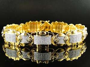 MENS YELLOW GOLD FINISH PAVE 15MM ROUND CUT DIAMOND BRACELET