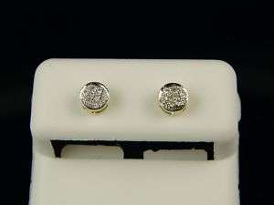 10K MENS/LADIES ROUND PAVE DIAMOND STUD EARRINGS 5MM