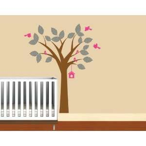 Nursery Kids tree vinyl wall decal with birds polka dot leaves