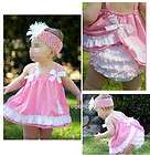 Girl Baby Ruffle Top Dress + Pants Set New Bloomers Nappy Cover Size 0