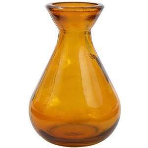 4 1/4 Glass Dark Amber Teardrop Vase, Short, Medium
