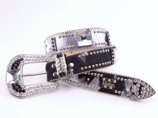 Simon SWAROVSKI CRYSTAL BLACK/SILVER COWHIDE BELT