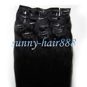 2010pcs Clip On Real Human Hair Extensions #01 Jet black, 90g ,New