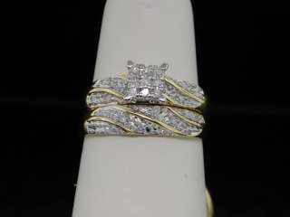 MENS LADIES 1OK YELLOW GOLD DIAMOND ENGAGEMENT 3 RING MATCHING TRIO