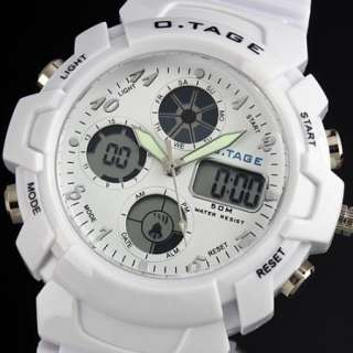 new sport outdoor men analog digital watch quartz rubber white multi
