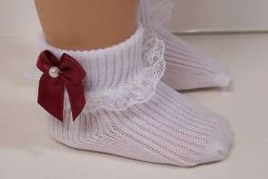 WHITE Lace Anklet Doll Socks FOR Effanbee KATIE Bows ?♥