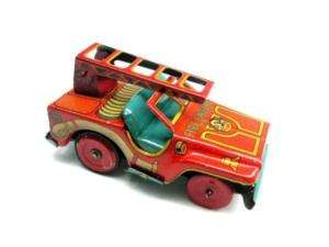 1950s Japanese Antique FIREMAN Fire Truck Car Tin TOY