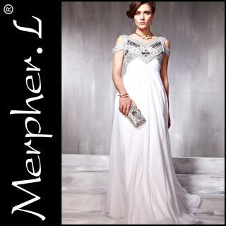 White Cocktail Prom Chiffon Strap Beading Party Long Evening Dress