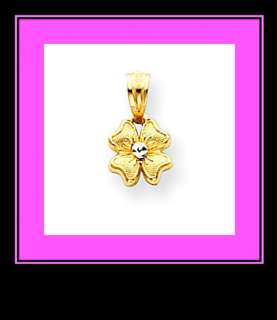 New 14K Two Tone Gold Flower Pendant/Charm