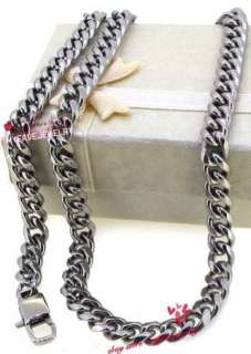 5mm Silver Tone Stainless Steel Miami Cuban Link Chain Necklace