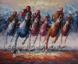 Abstract Horse Racing Original Canvas Art Oil Painting