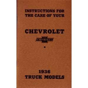 1936 CHEVROLET TRUCK Full Line Owners Manual User Guide Automotive