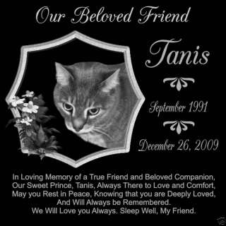 12 x 12 Granite Pet Memorial with 2 Dog Tags
