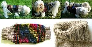 DOG SWEATER COAT HANDKNIT ORIGINAL HIP HOP RAINBOW M/L