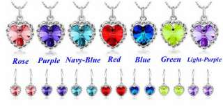 NEW Women Ocean Heart Peach Crystal Pendant Necklace Earrings Jewelry