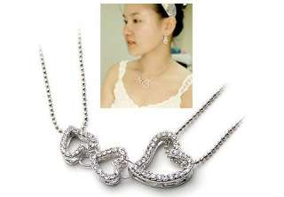 Fashion Jewelry Womens Crystal 3 Heart Silver Necklace Chain