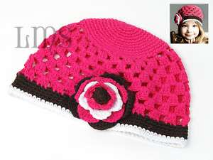 H11 new infant toddler baby girl crochet beanie hat